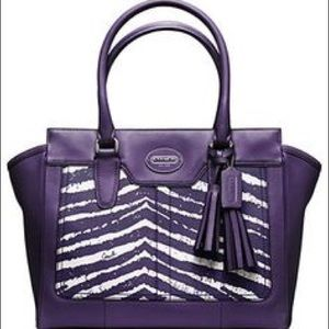 Coach Legacy Purple Animal Print Purse